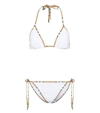 Vintage Check-trim triangle bikini