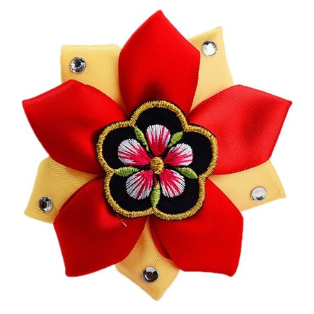 Red and Golden Yellow Korean Hair Clip 2