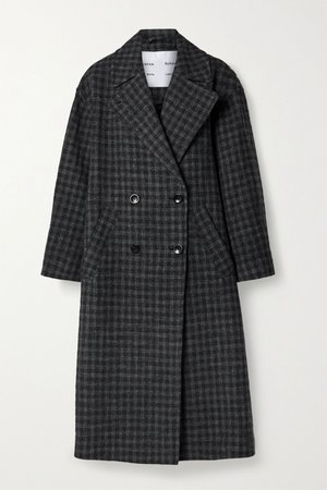 Charcoal Double-breasted checked wool and cotton-blend coat | Proenza Schouler White Label | NET-A-PORTER