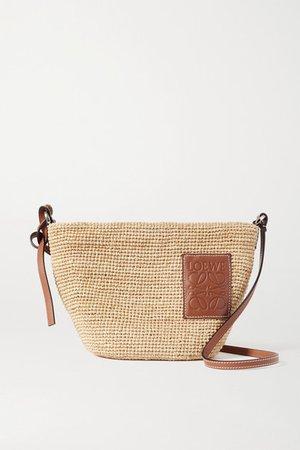 Paula's Ibiza Pochette Leather-trimmed Woven Raffia Shoulder Bag - Tan