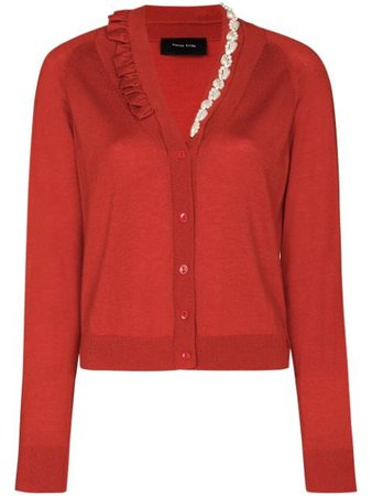 Shop red Simone Rocha x Browns 50 embellished fine knit cardigan with Express Delivery - Farfetch