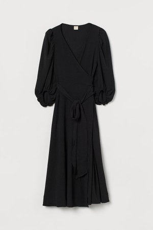 Puff-sleeved Wrap Dress - Black