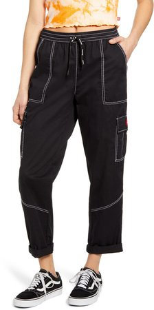 Contrast Stitch Tapered Pull On Pants