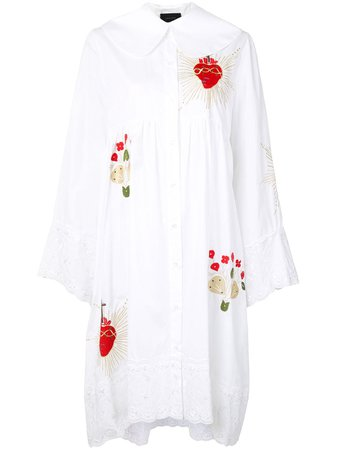 Shop white Simone Rocha lace-trim cotton shirt dress with Express Delivery - Farfetch