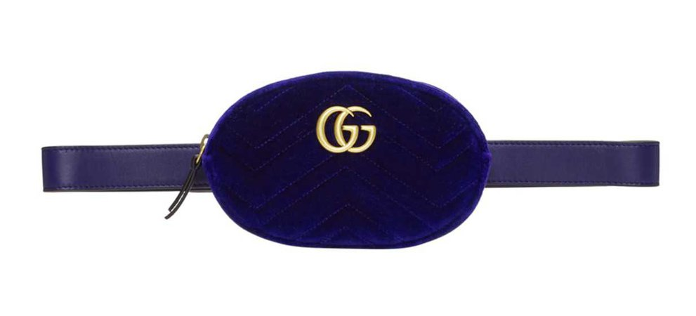 Gucci Marmont Blue Velvet Belt Bag