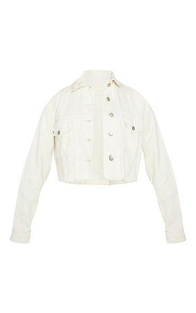 Unbleached Cropped Denim Jacket   Denim   PrettyLittleThing USA