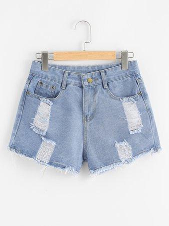 Ripped Raw Hem Denim Shorts
