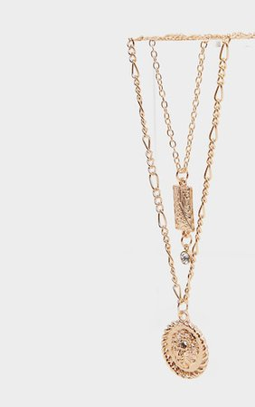 Gold Diamante Lions Head Double Layering Necklace   PrettyLittleThing