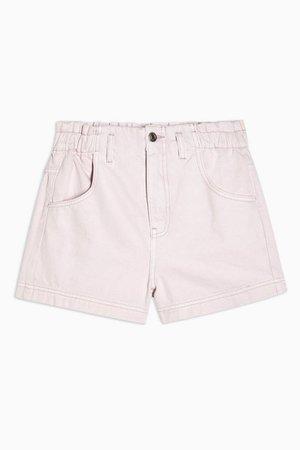 CONSIDERED High Waist Pink Denim Paperbag Shorts   Topshop