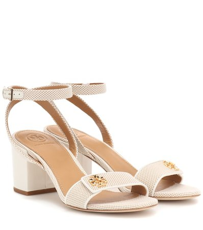 Kira leather-trimmed canvas sandals