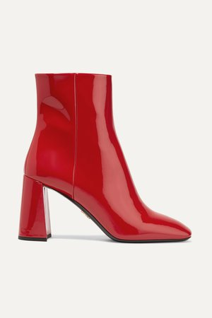 Red 85 patent-leather ankle boots | Prada | NET-A-PORTER