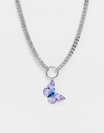 ASOS DESIGN necklace with purple butterfly pendant in silver tone | ASOS