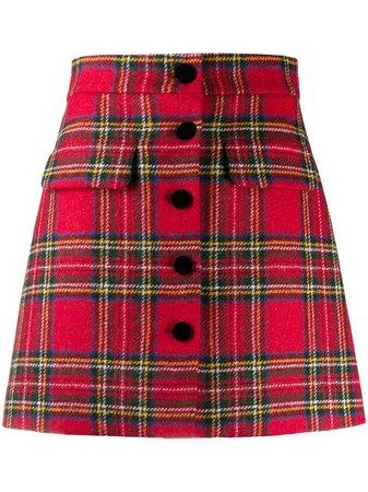 Miu Miu Tartan A-line Skirt - Farfetch