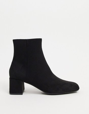 Pull&Bear faux suede ankle boots in black | ASOS