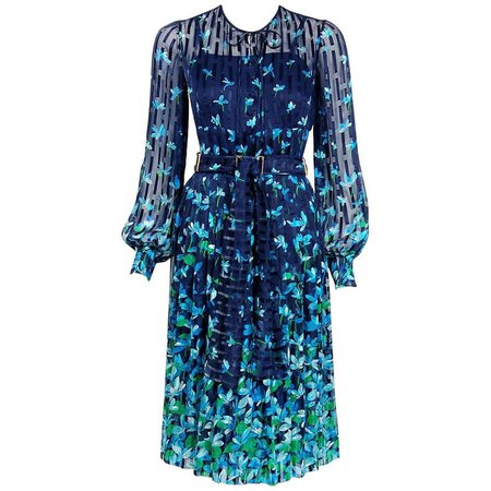 1974 Chanel Haute-Couture Blue Floral Illusion Silk Billow-Sleeve Belted Dress For Sale at 1stdibs