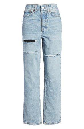 Topshop Sofia Ripped High Waist Dad Jeans (Regular & Petite) | Nordstrom
