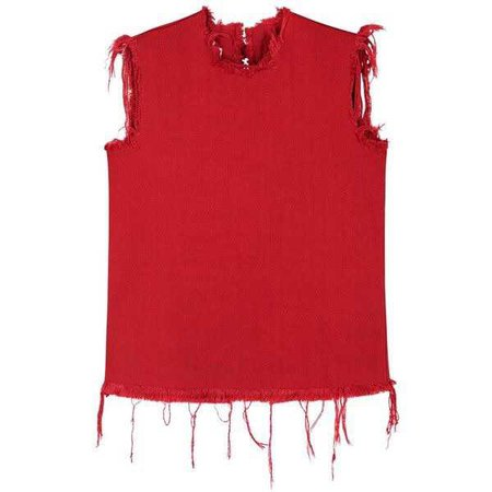 MARQUES'ALMEIDA Red Open-back Frayed Denim Top