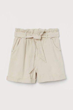 Denim Paper-bag Shorts - Beige
