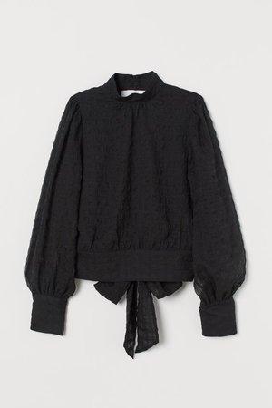 Tie-hem Blouse - Black/seersucker - Ladies   H&M US