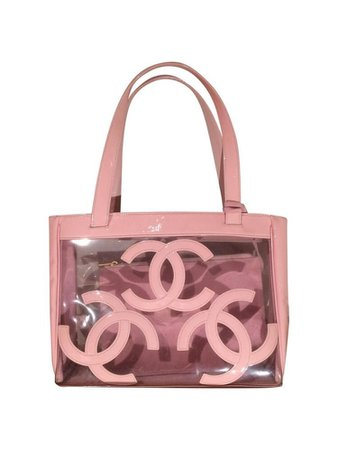 Pink clear Chanel bag with wallet