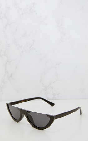 Black Rounded Half Frame Retro Sunglasses | PrettyLittleThing USA