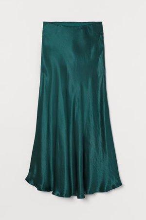 Satin Skirt - Dark green - Ladies | H&M US