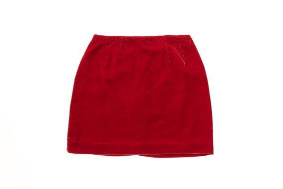 90s Velvet Mini Skirt 1990s Velour Cranberry Red Soft Grunge | Etsy