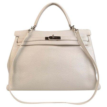 Hermes White Leather Kelly 35 Retourne Top Handle Bag Satchel For Sale at 1stDibs