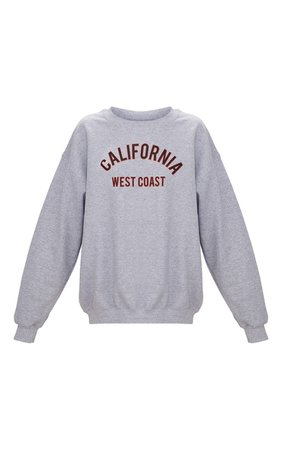 Grey Marl California Slogan Oversized Sweater   PrettyLittleThing