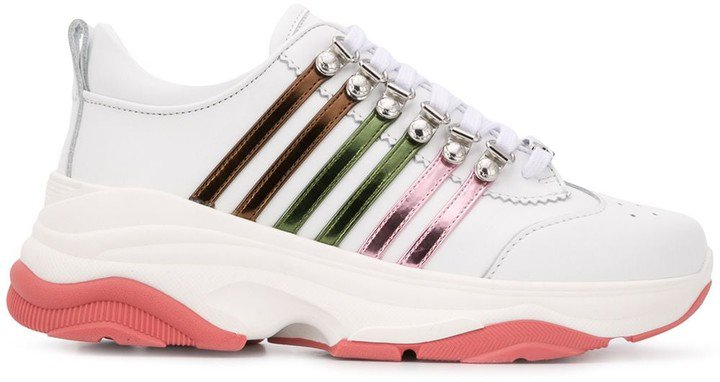 Multi-Striped Low-Top Chunky Trainers