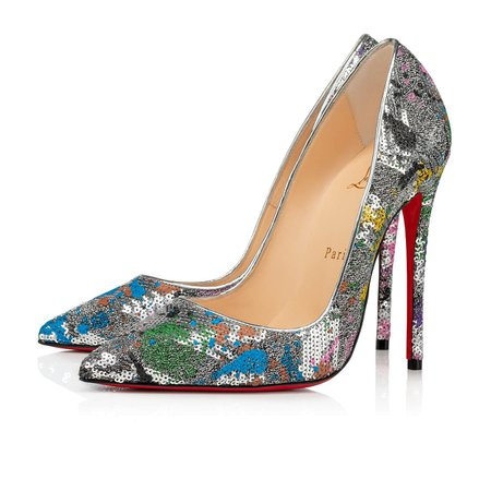 SO KATE 120 Silver Paillette Splash - Women Shoes - Christian Louboutin