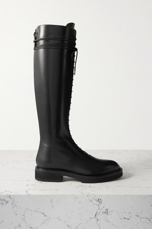 York Leather Knee Boots - Black