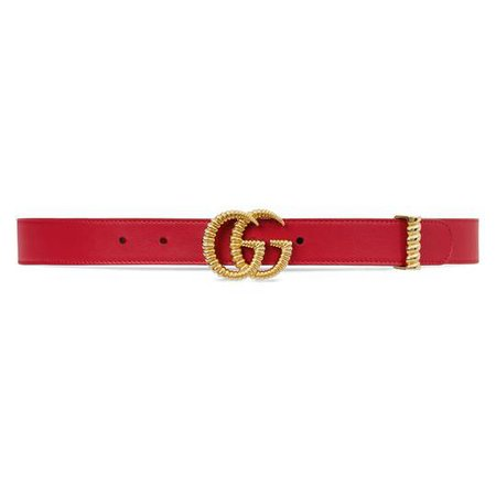 Leather belt with torchon Double G buckle in Hibiscus red leather | Gucci Women's Belts