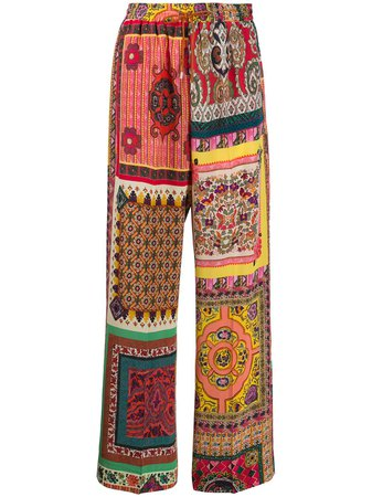 Shop yellow Etro silk patchwork print trousers with Express Delivery - Farfetch