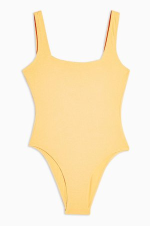Pale Orange Square Neck Swimsuit | Topshop