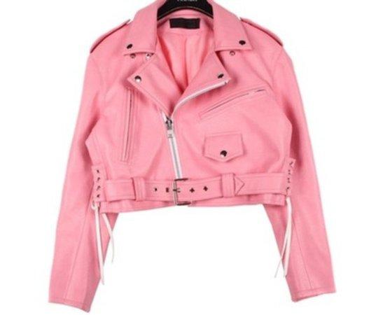 jacket, pink, leather jacket, pastel goth - Wheretoget