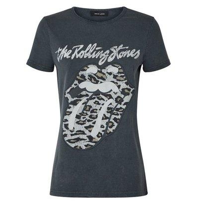 Grey Rolling Stones Leopard Print Logo T-Shirt   New Look