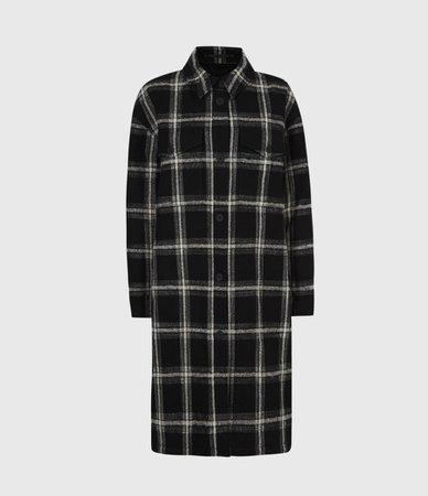 ALLSAINTS US: Womens Nia Wool Blend Mono Coat (black_grey)