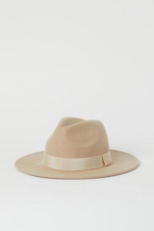 Фетровая шляпа из шерсти - Бежевый - Женщины   H&M RU