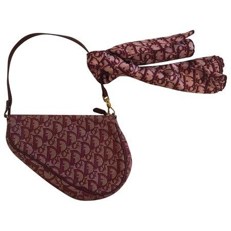 Saddle cloth handbag Dior Burgundy in Cloth - 6331318