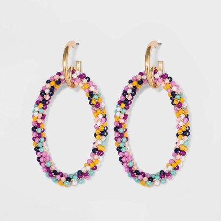 SUGARFIX By BaubleBar Seed Beaded Hoop Earrings : Target