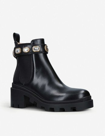 GUCCI - Trip crystal-embellished leather Chelsea boots | Selfridges.com