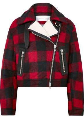 Benni Faux Shearling-trimmed Checked Felt Jacket