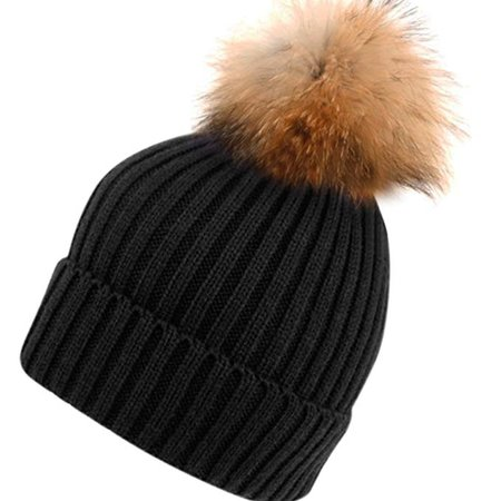 Womens Girls Knitted Fur Hat Real Large Raccoon Fur Pom Pom Beanie Hats (Black) at Amazon Women's Clothing store