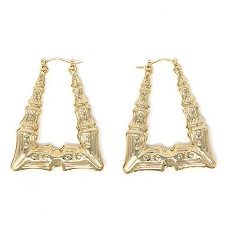 Amazon.com: Triangle Hollow Casting Bamboo Pincatch Earrings (2 inches, Gold Tone): Hoop Earrings: Gateway