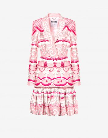 Dress robe manteau in cady Icing Print | Moschino Official Online Shop