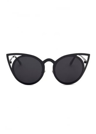 Black Cat Eye Silhouette Metal Frame Sunglasses | Attitude Clothing