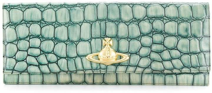 Pre-Owned croc effect flap clutch