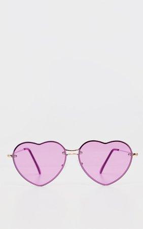 Purple Heart Shaped Sunglasses   PrettyLittleThing USA