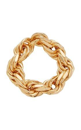 Gold-Plated Silver Woven Rope Bracelet By Bottega Veneta | Moda Operandi